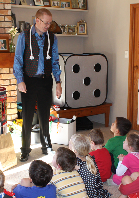 Kids birthday entertainment with magician Andy Kean